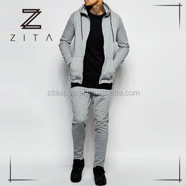 Latest Design Tech Fleece Fitted Plain Mens Tracksuit Set With Hood