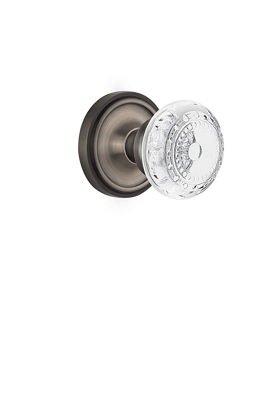 """Nostalgic Warehouse 752200 Classic Rosette Privacy Crystal Meadows Door Knob, Backset Size: 2.375"""", Antique Pewter"""