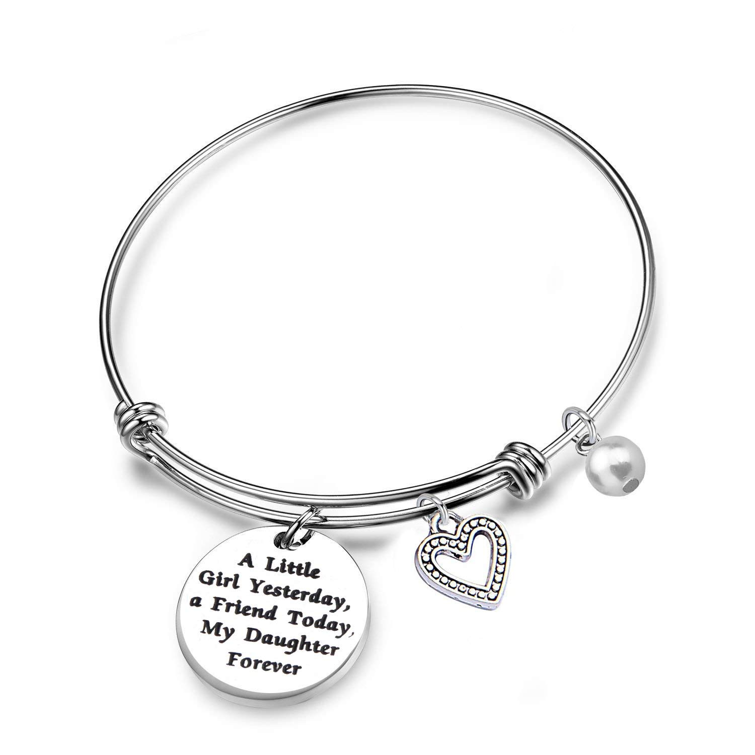 RQIER Daughter Bracelet A Little Girl Yesterday A Friend Today My Daughter Forever Bracelet Gift for Daughter Daddys Little Girl