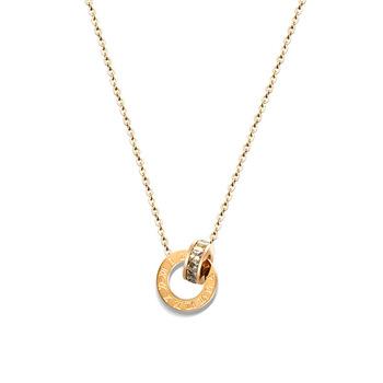 Emas Stainless Steel Cincin Dengan CZ Zircon Liontin Kalung Untuk Wanita