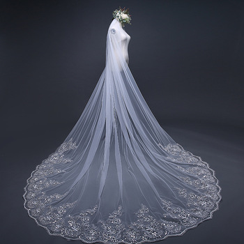 2019 Hot Sell Latest Long Tulle Wedding Bridal Veil Lace Wedding Veil