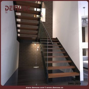 Indoor Wood Stairs Steps U Shape Floating Staircase For Villa