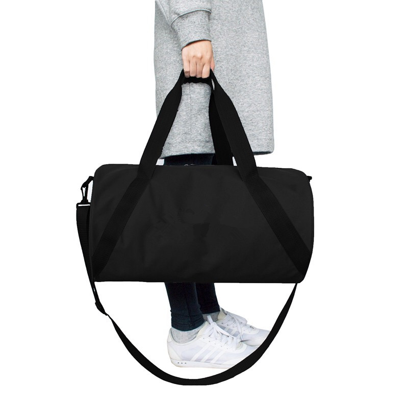 Round Shape Black Color 600D Polyester Duffle Bag Gym