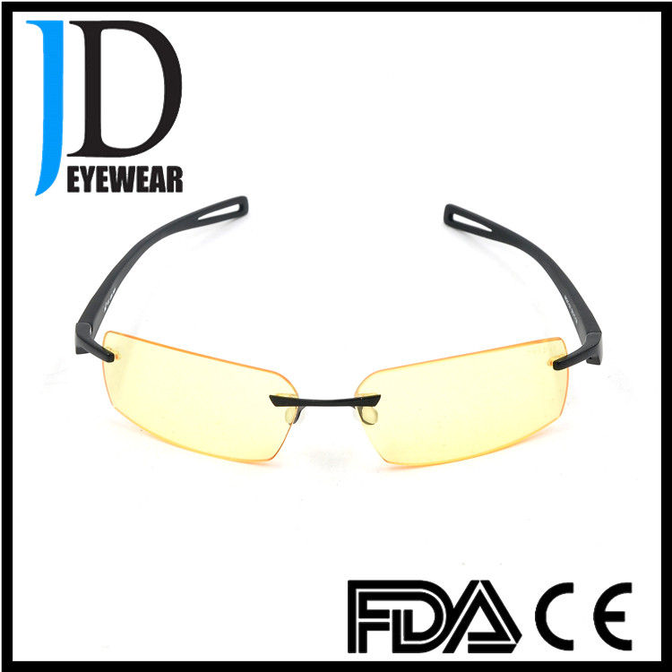 Anti blue light optical glasses elegant wisdom design rimless eyewear glasses frame