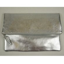 Fashion foldable cosmetic bag shiny pouch makeup bag silver clutch bag wallet