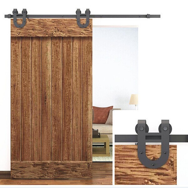 Rustic 6 Interior Sliding Barn Door Kit Hardware Set Black