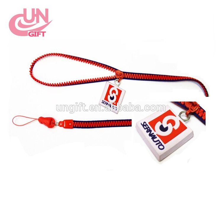 Wholesale waterproof plastic zipper lanyard with PVC logo