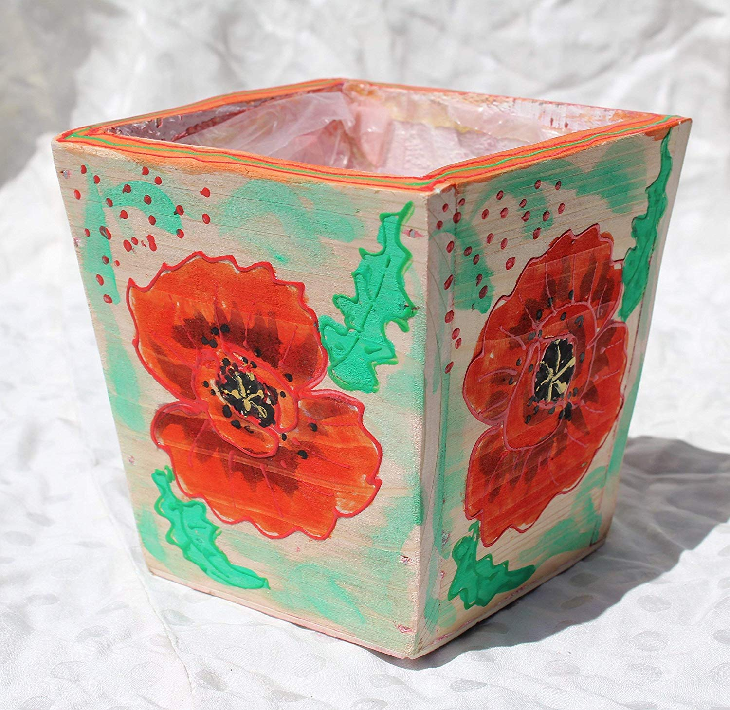 SALE!!!20% OFF,WOOD,Hand Painted Pot with Acrylic Red Poppies,Wooden Hanging,Pots made of Wood,Red POPPY Wooden Planter,Red Poppies in Pot,Miniature Wall Art,Wedding Decoration.