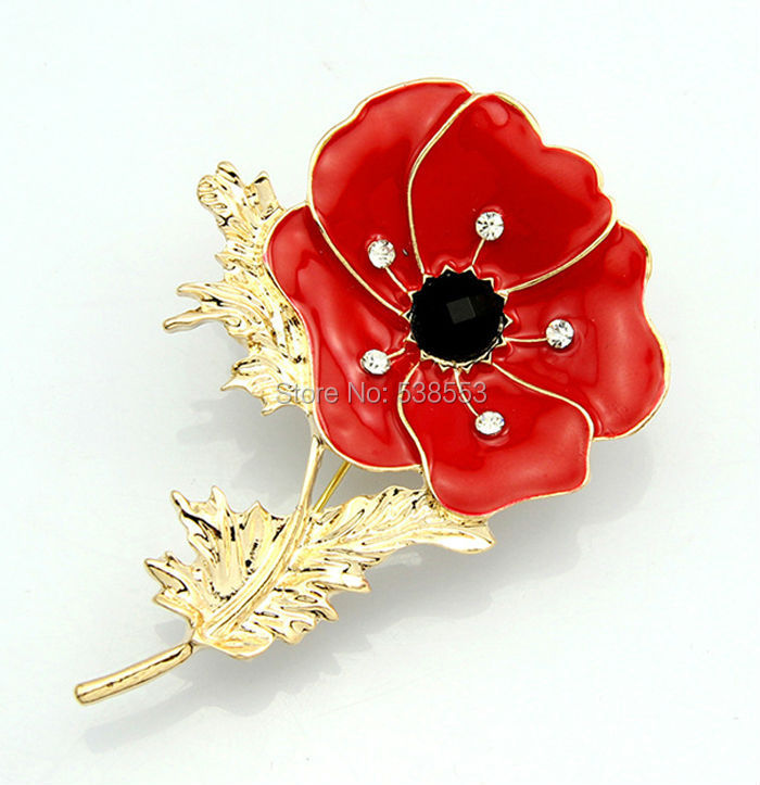 Fashion Rhinestone brooch Gold Plated Brooch Red Remembrance Poppy Flower Shaped Curve Full Shining Brooches For Wedding Girl