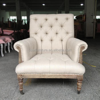 French Country Louis Linen Tufted Antique Armchair With Wheels