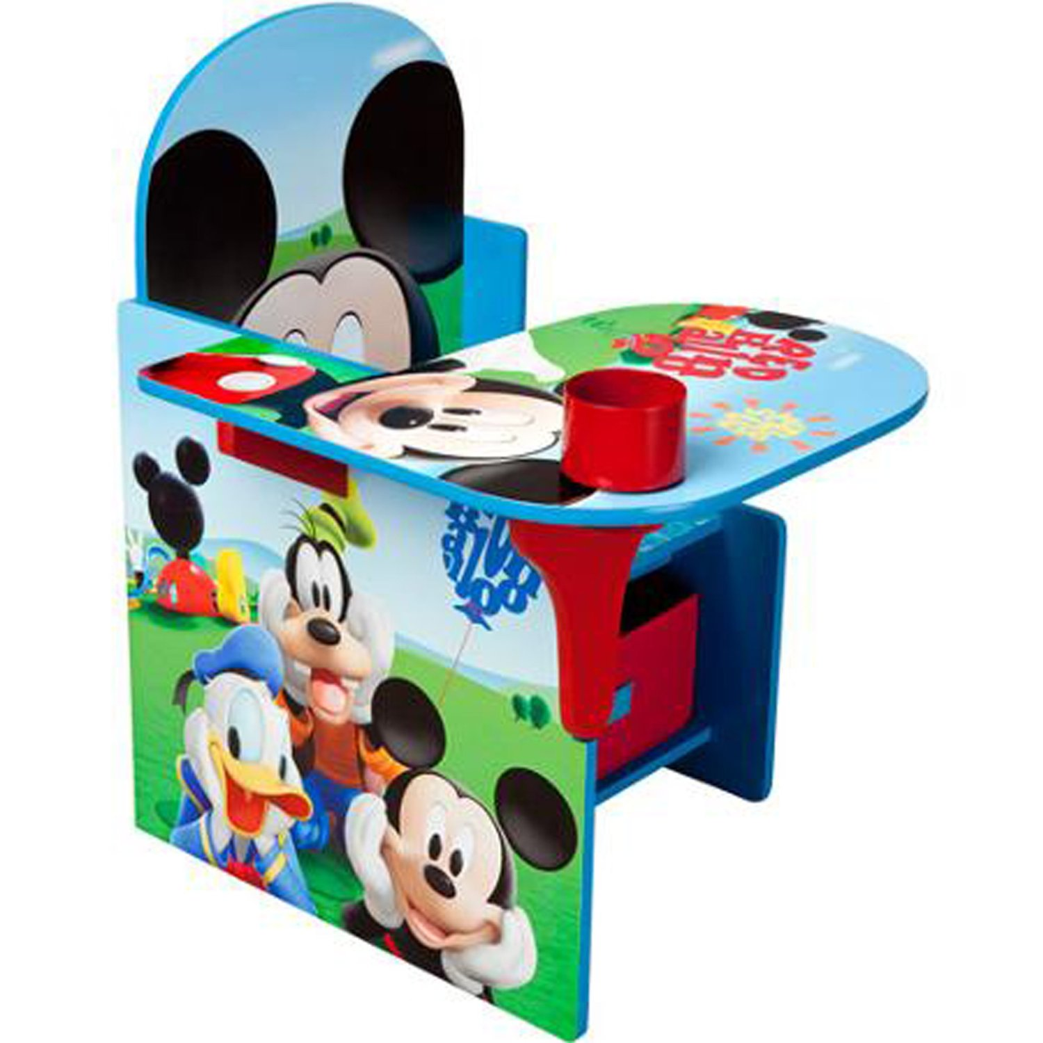 Disney Chair Desk With Storage Bin Mickey Mouse Characters Desk Set Fabric Storage Bin Extra Storage Table Desk Chair MDF Construction Assembly Required Sits Low Children Furniture (Pack of Two)