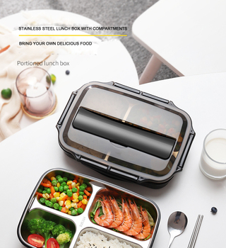 BPA Free 304 stackable thermal stainless steel thermo lunch box insulated with compartment