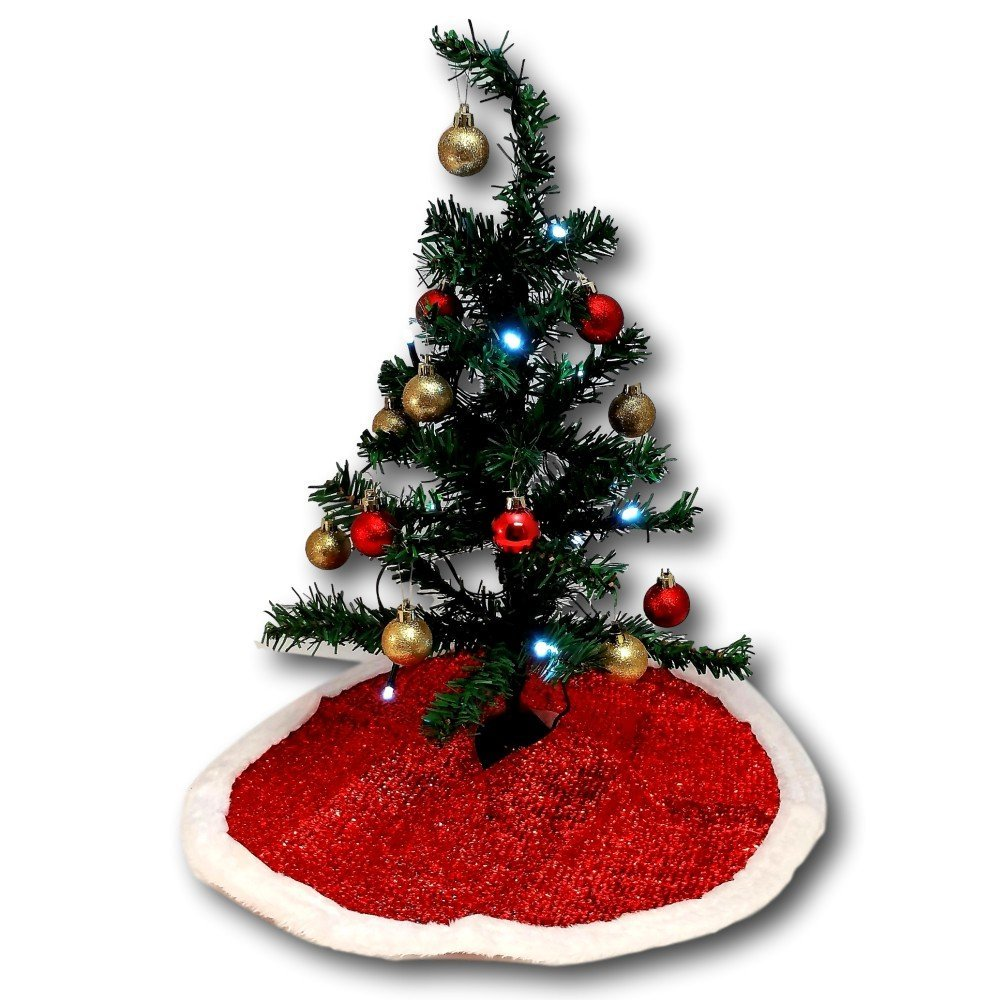 get quotations christmas house miniature christmas tree bundle with tree skirt 2 sets of shatter proof - Where To Buy Cheap Christmas Tree