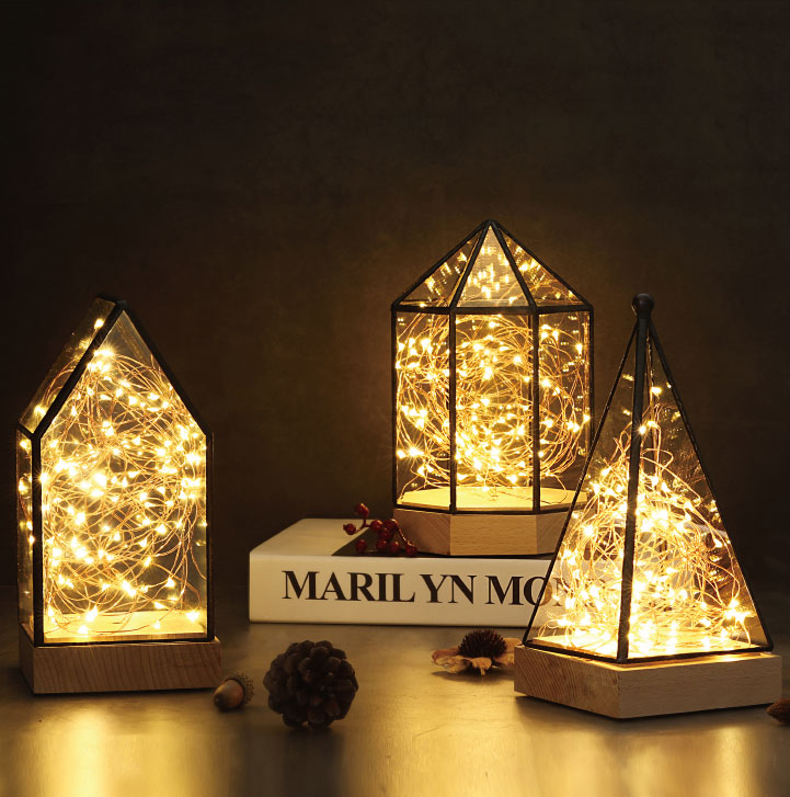 Creative christmas gift house lamp fire tree silver flower LED decorative light night light