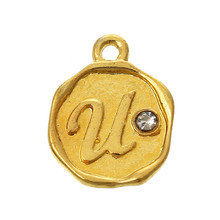 "Custom Round Gold Plated Alphabet/Letter ""U"" Carved Clear Rhinestone Charm Pendants"