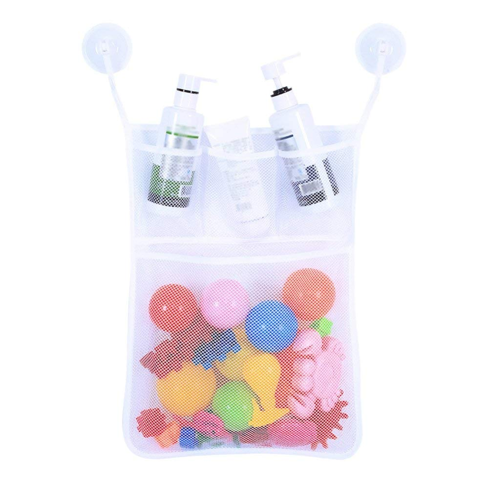 Bokze Bath Toy Organizer - Massive Baby Toy Storage Bin - with 2 Ultra Strong Suction Cup Hooks For Kids, Toddlers & Baby-White