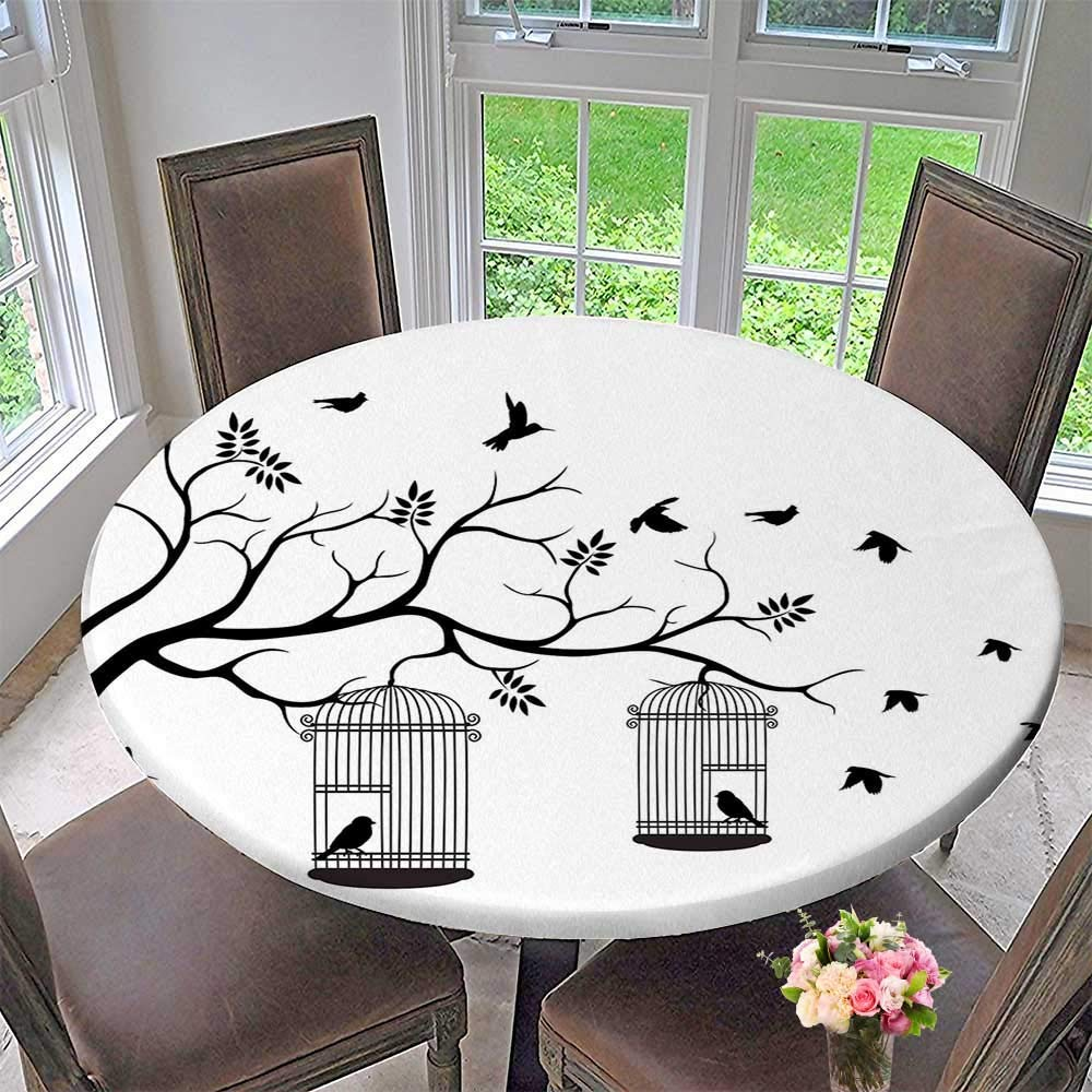 "Mikihome Luxury Round Table Cloth for Home use Romantic Themed Birds Cages Branches Leaves Art Print Black and White for Buffet Table, Holiday Dinner 47.5""-50"" Round (Elastic Edge)"