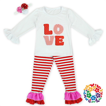 Newest Baby Valentine Boutique Outfits Girls LOVE Pattern Valentines Day Clothes Sets With Red Striped Pants Baby Wear Wholesale
