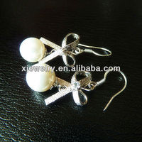 wholesale 925 silver 10mm round white south sea shell pearl earring