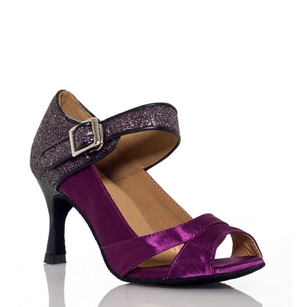 Miyoopark Women's Flared Heel Glitter Cha Cha Salsa Ballroom Latin Dance Shoes
