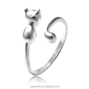Fashion Little Cat 925 Silver Opening Rings