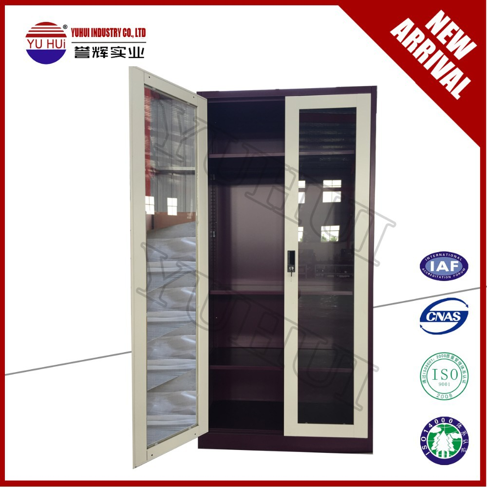 White Glass Door Office File Cabinet Metal File Storage Cabinet