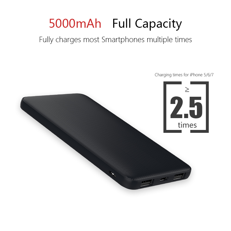 5000mah Hot Double USB Port Power Bank Ultra Thin External Battery with Type-C Port