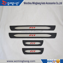 Car Exterior Accessories Plastic Door Sill Scuff Plate For Honda Fit Jazz 2014