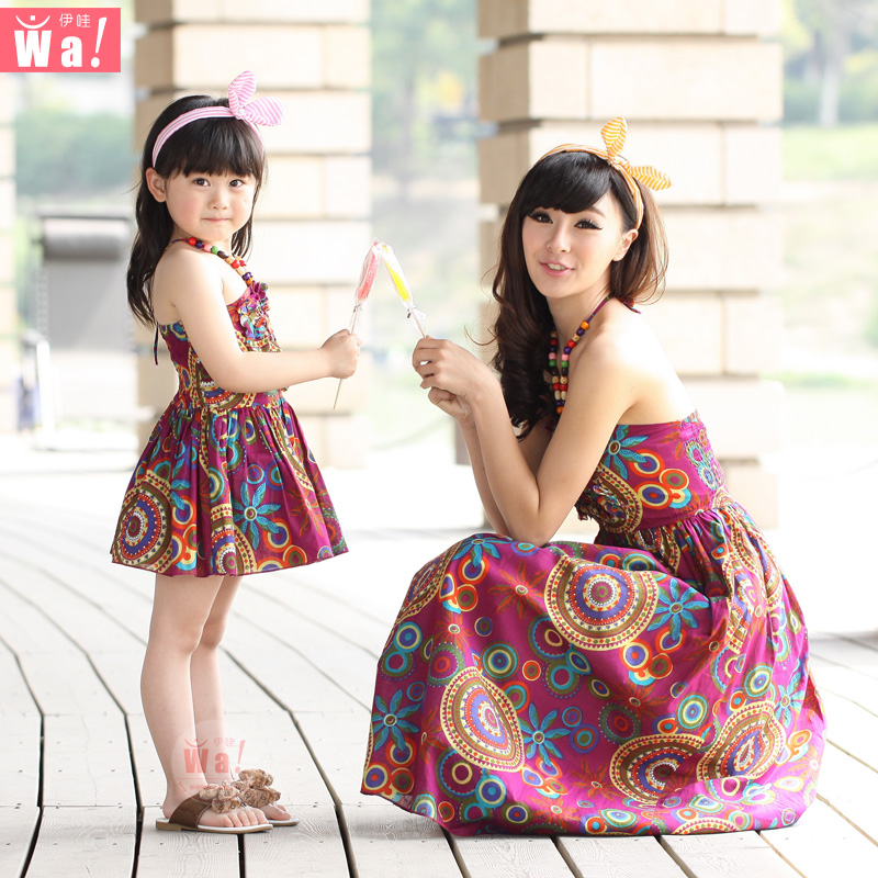 Family fashion summer 2015 clothes for mother and daughter one piece dress beach dress full princess