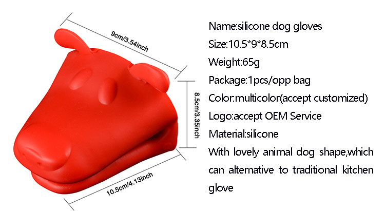 Baking grilling barbecue dog head shape heat resistant silicone oven gloves