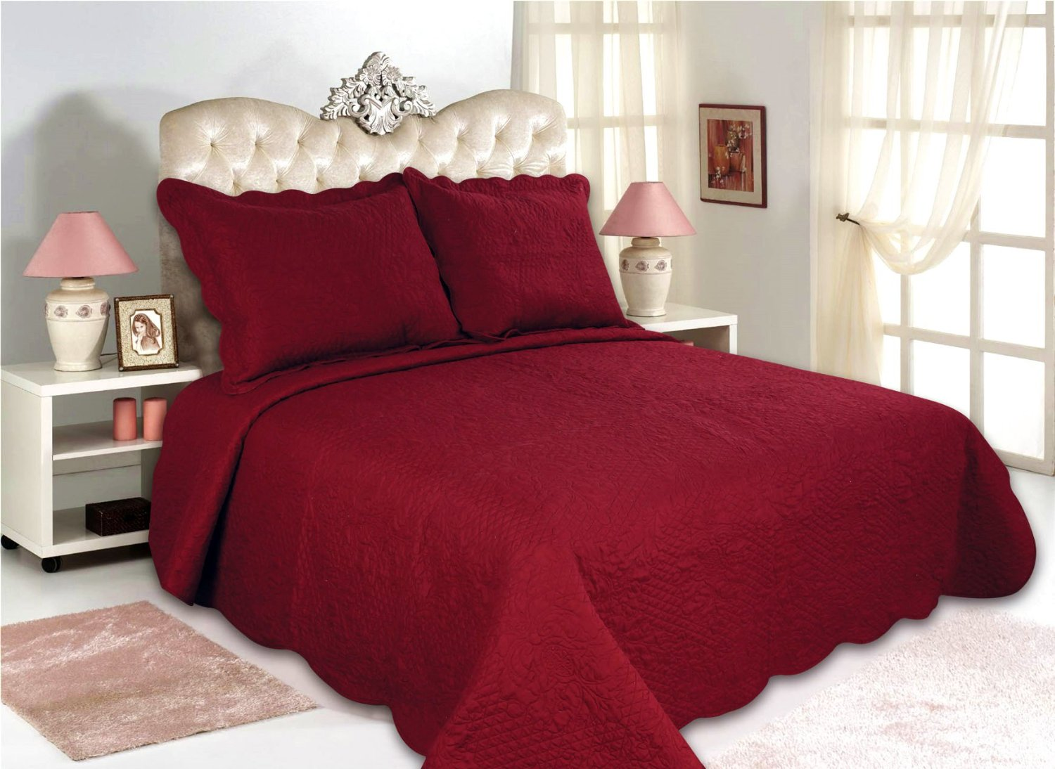 "ALL FOR YOU 3pc Reversible Quilt Set, Bedspread, and Coverlet-Burgundy Color -110"" x 100""-(Burgundy, Larger King)"