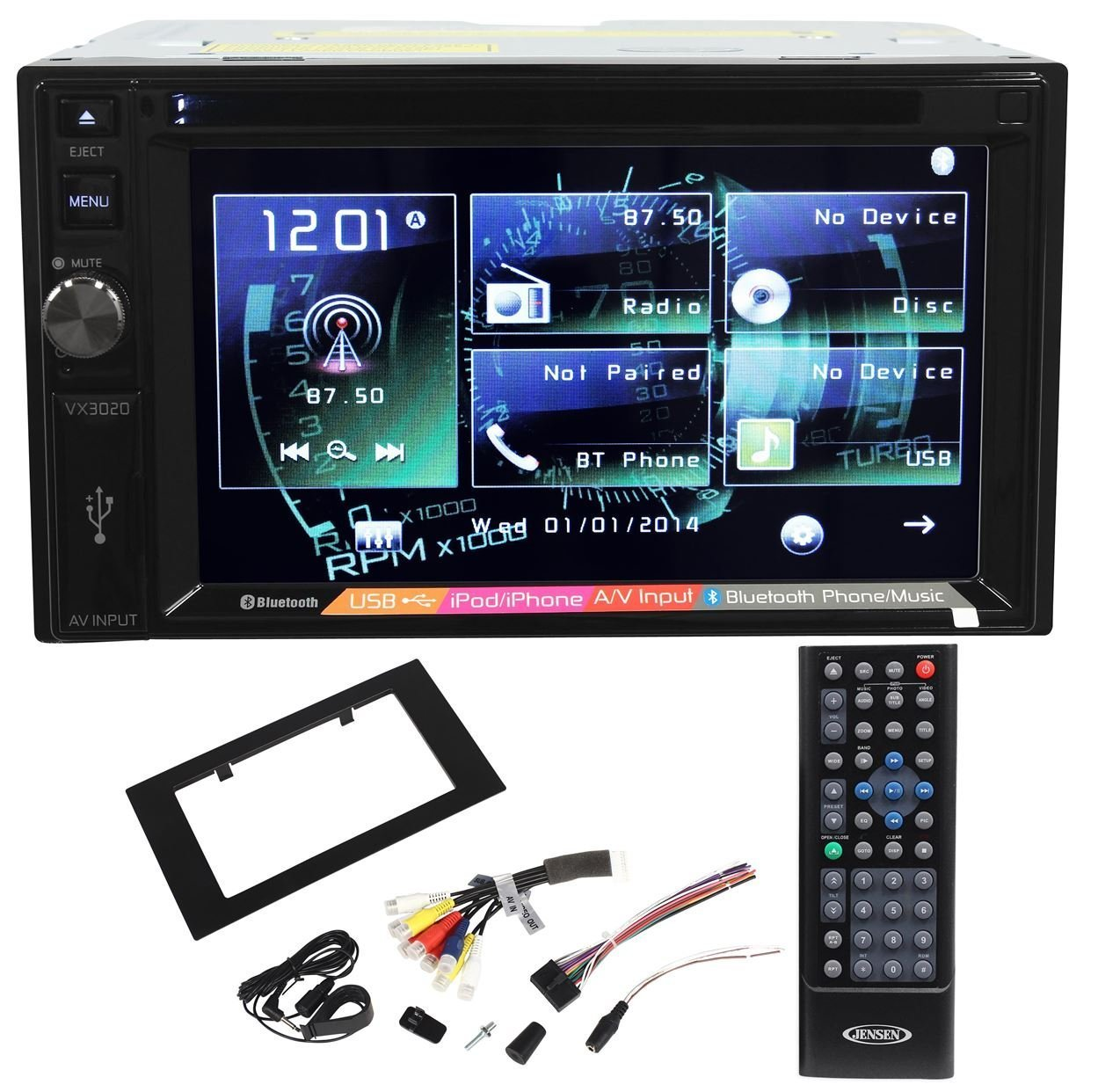 """Jensen VX3020 Double Din 6.2"""" In-Dash Car DVD Receiver With Bluetooth Music Streaming, AUX/USB Inputs, and iPod/iPhone/Android Integration"""