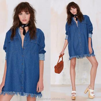 d6bdaae25656aae Оптовая Продажа Леди Блузка модные женские топ темно-синяя джинсовая рубашка  для девочек