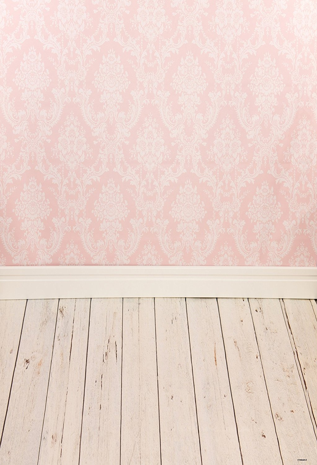 5x7ft Pink damask Motifs Photo Backgrounds Wood Floor Wrinkle free Photography Backdrops for Newborn wd0460