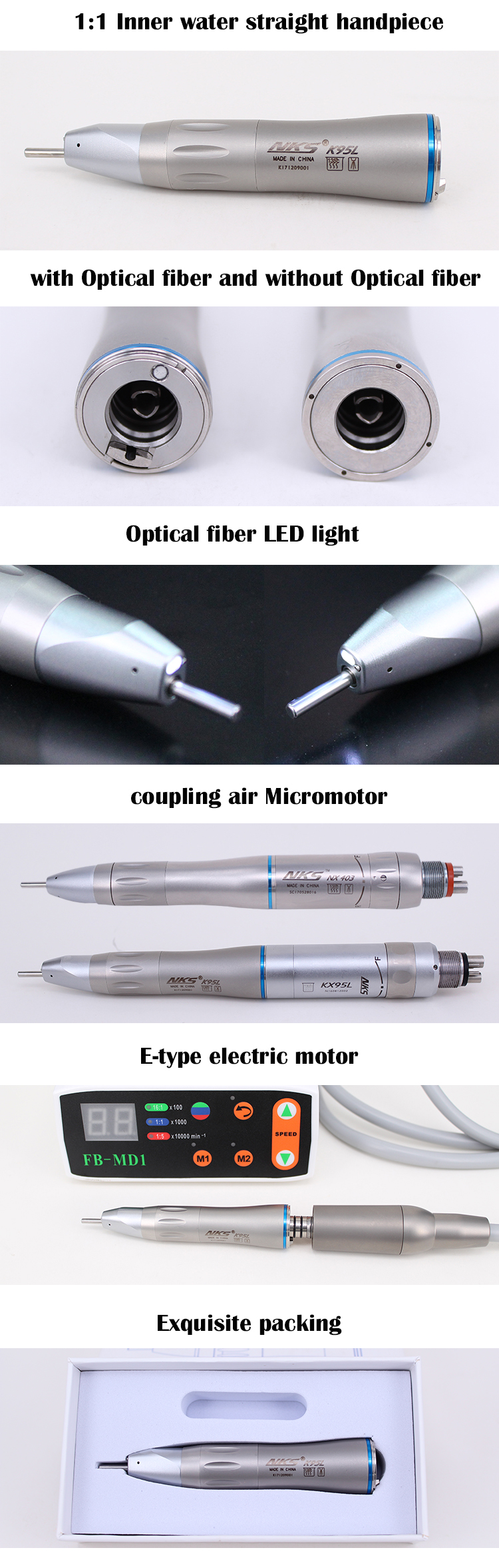 LED Optical fiber inner water straight surgical dental implant low speed dental handpiece