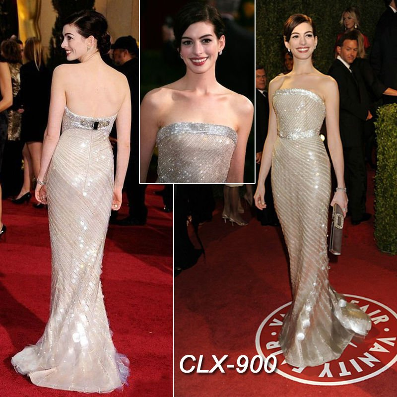 Anne Hathaway Gown: Anne Hathaway Brilient Evening Gown-in Evening Dresses