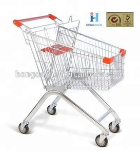 Customizable metal retail folding shopping supermarket cart trolley
