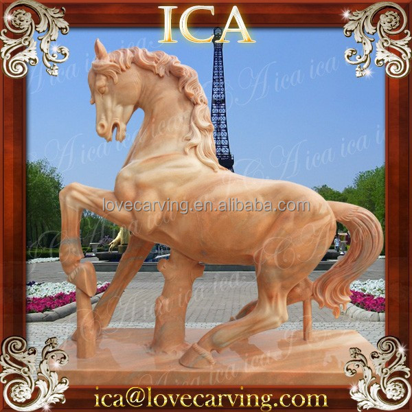 Life size hand carved natural red marble horse stone animal sculpture