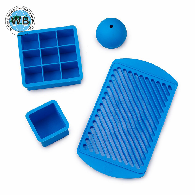 Custom Food Grade Silicone Square Ice Cube Mold Tray with Lid
