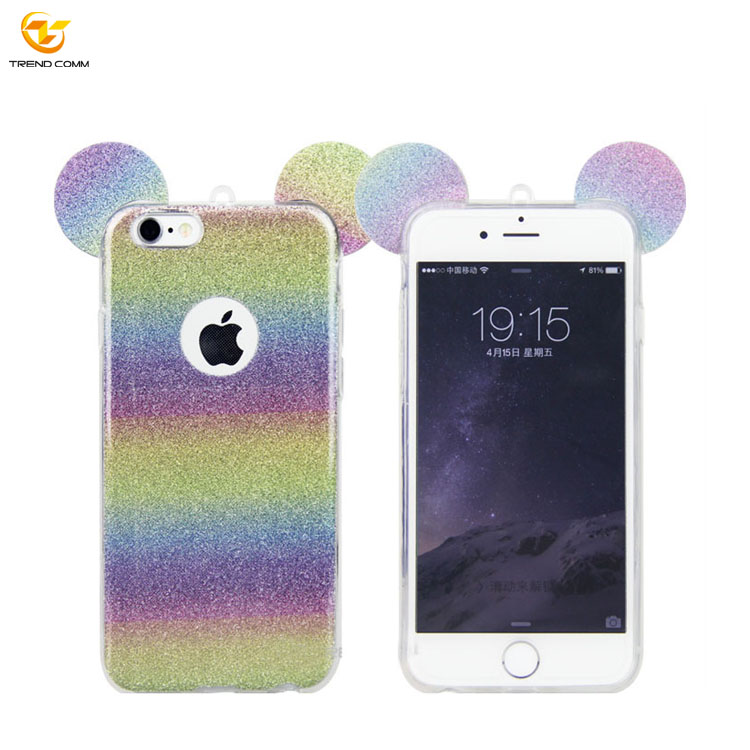 Rainbow Colors Ears TPU Phone Case Casing for iPhone 6 6s
