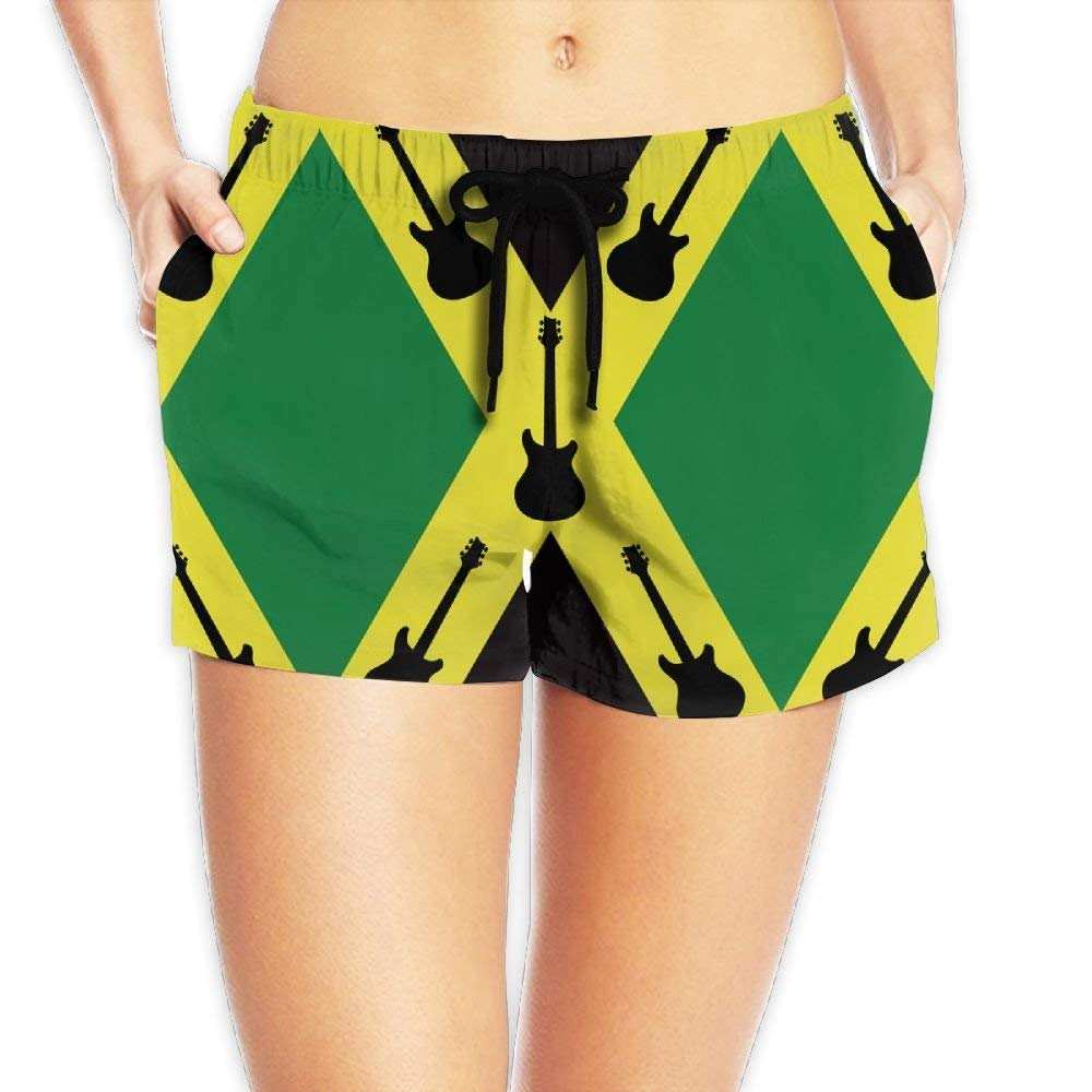 5143cbcc14 Get Quotations · Women Summer Beach Board Shorts Guitar With Jamaican Flag