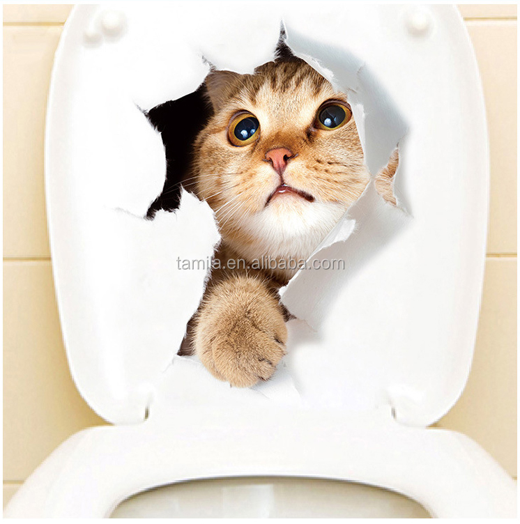 3D Cats Toilet Stickers Hole View Bathroom Toilet Living Room Decor Decal Poster Background Wall Stickers