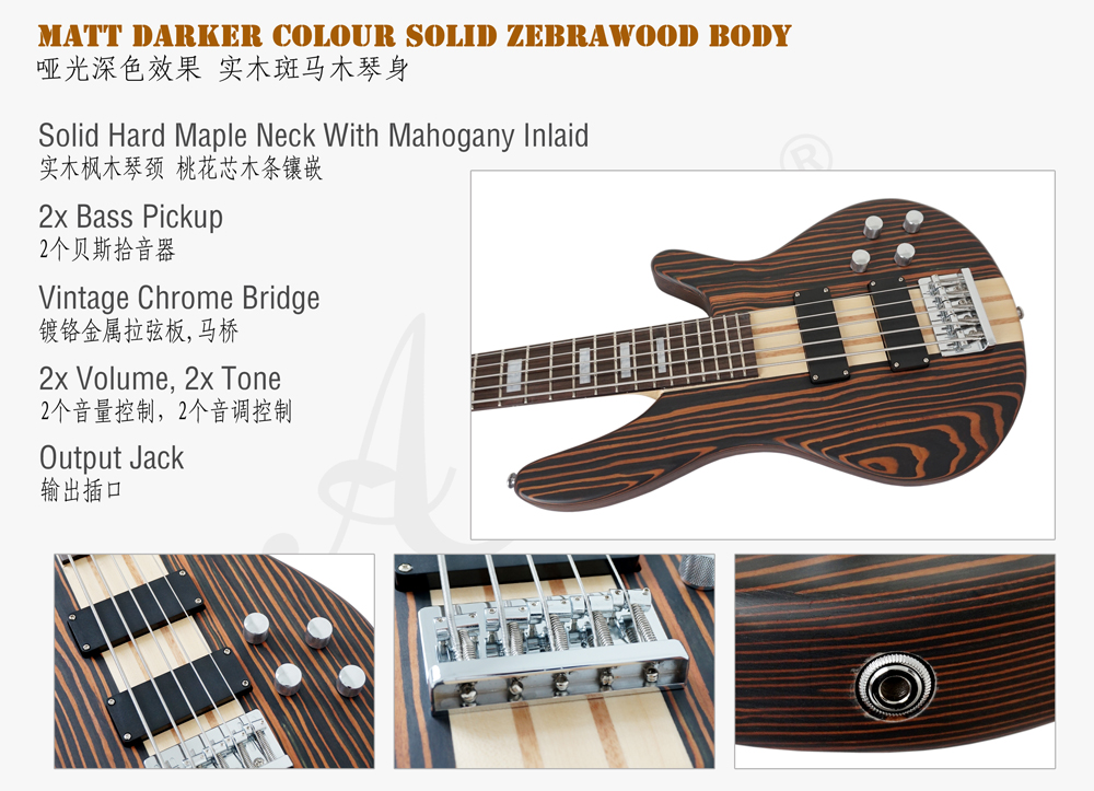 Wholesale Price Solid Zebrawood 5 String Electrical Bass Guitar for sale