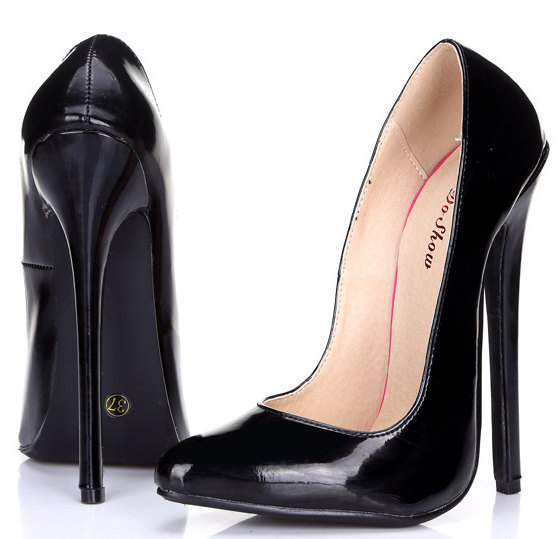 Plus size 37-45 sexy 16 cm Ultra high heels shoes woman pointed toe high-heeled shoes club shoes japanned leather women pumps