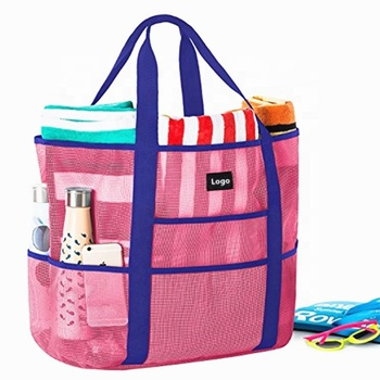 Reusable large pink beach mesh tote bag with multi pockets