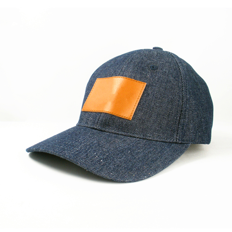 Denim Leather Patch 6 Panel Baseball Cap Strap Back Hats