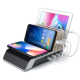 Desktop Wireless Charging Station 5-in-1 Multiple Charger Dock Organizer Stand with 4 USB Ports for iPhone, for iPad Charging