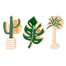 pins enamel Palm tree Leaves Cactus Potted plants Brooch Pins butterfly clasp back