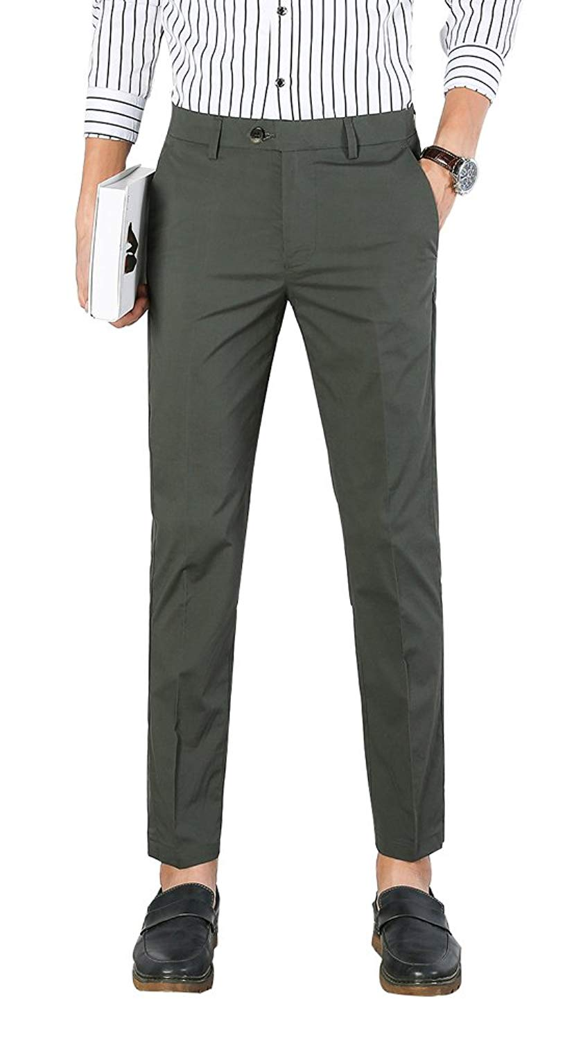 6412dec33 Get Quotations · Plaid&Plain Men's Dress Pants Slim Fit Cropped Pants Mens  Tapered Dress Pants