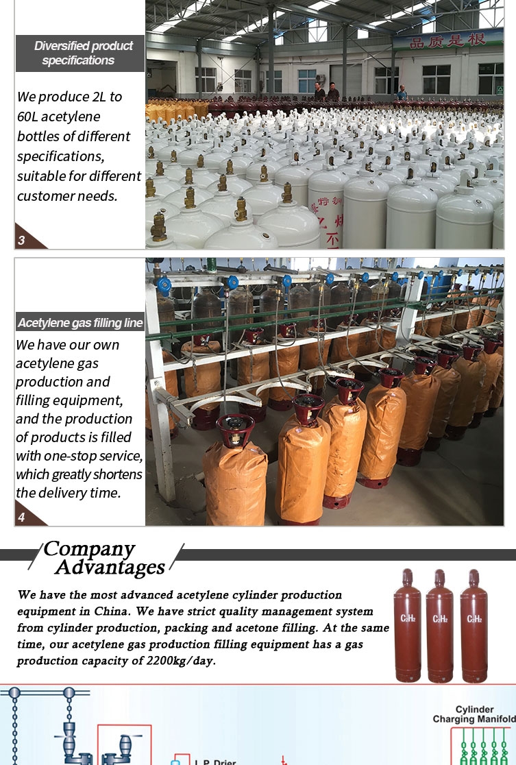 40L Acetylene Cylinders Filled Acetylene Gas
